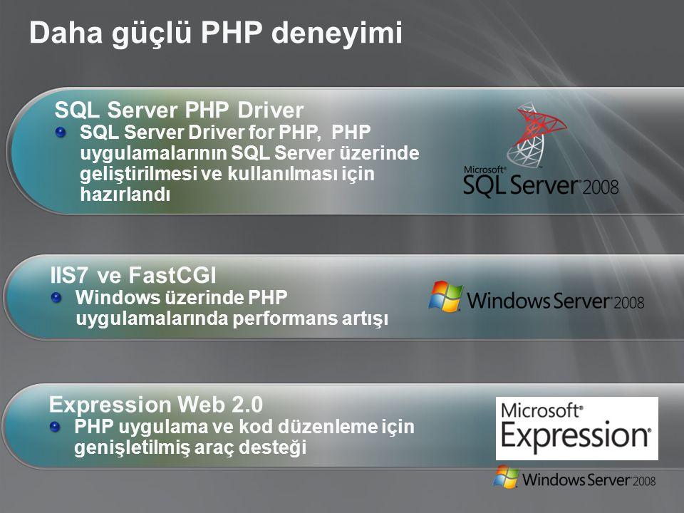 Daha güçlü PHP deneyimi SQL Server PHP Driver SQL Server Driver for PHP, PHP uygulamalarının SQL Server üzerinde geliştirilmesi ve kullanılması için hazırlandı IIS7 ve FastCGI Windows üzerinde PHP uygulamalarında performans artışı Expression Web 2.0 PHP uygulama ve kod düzenleme için genişletilmiş araç desteği