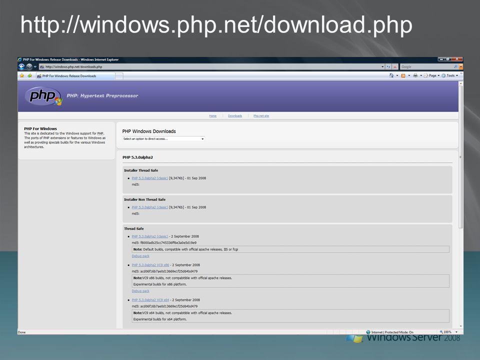 Hosting Sunucu birleştirme PHP uygulamalarını ASP, ASP.NET ve diğer Windows uygulamaları ile aynı sunucu üzerinde yayınlama Tek bir ortamı yönetme Daha az sunucu Tek araç seti ile sunucu ve uygulamaları yönetme IIS 7.0'ın güçlü yönetim araçları IIS Manager, Powershell vb.