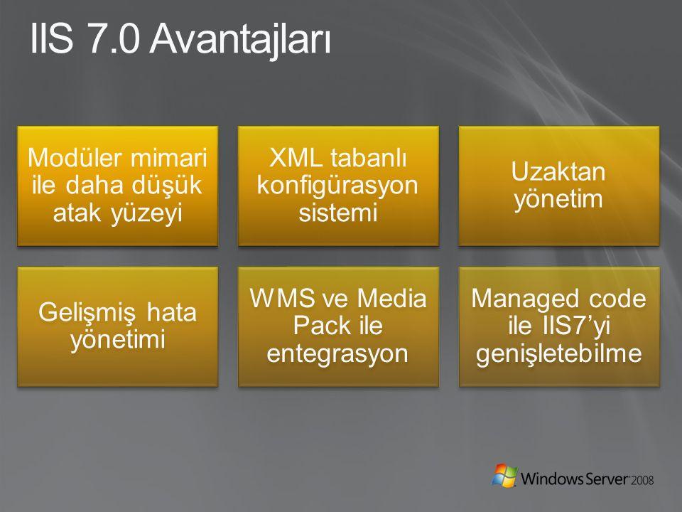 IIS 7.0 Avantajları Modüler mimari ile daha düşük atak yüzeyi XML tabanlı konfigürasyon sistemi Uzaktan yönetim Gelişmiş hata yönetimi WMS ve Media Pack ile entegrasyon Managed code ile IIS7'yi genişletebilme