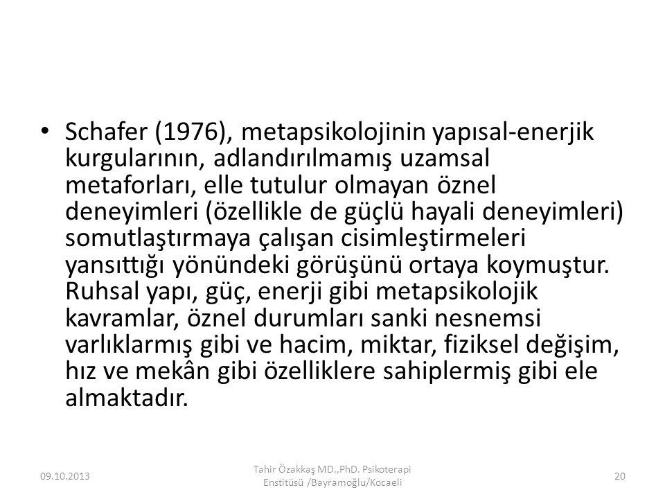 Schafer (1976), metapsikolojinin yapısal-enerjik kurgularının, adlandırılmamış uzamsal metaforları, elle tutulur olmayan öznel deneyimleri (özellikle