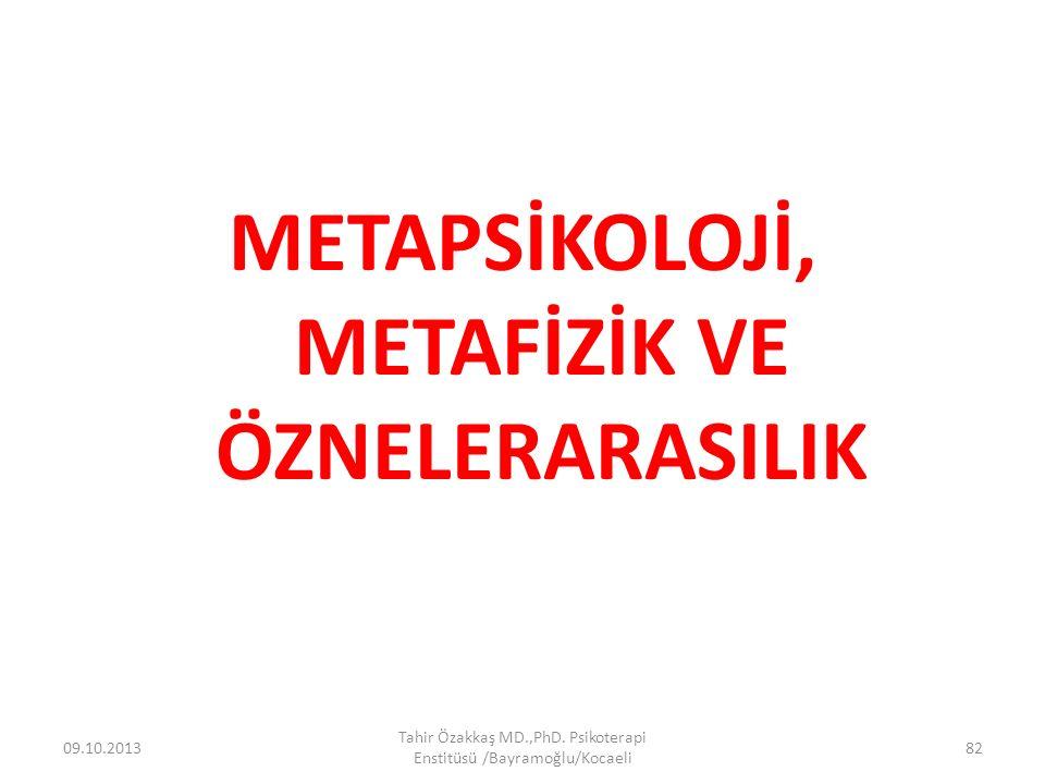 METAPSİKOLOJİ, METAFİZİK VE ÖZNELERARASILIK 09.10.2013 Tahir Özakkaş MD.,PhD. Psikoterapi Enstitüsü /Bayramoğlu/Kocaeli 82