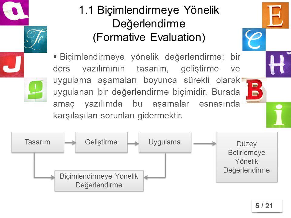 1.1 Biçimlendirmeye Yönelik Değerlendirme (Formative Evaluation)  Biçimlendirmeye yönelik değerlendirme; bir ders yazılımının tasarım, geliştirme ve uygulama aşamaları boyunca sürekli olarak uygulanan bir değerlendirme biçimidir.