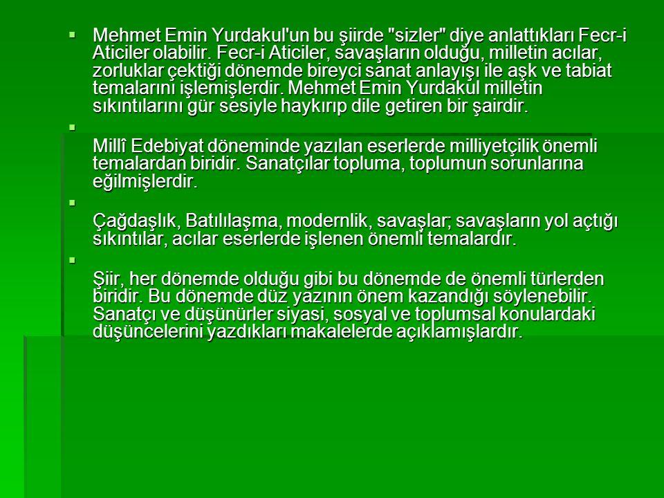 Mehmet Emin Yurdakul un bu şiirde sizler diye anlattıkları Fecr-i Aticiler olabilir.