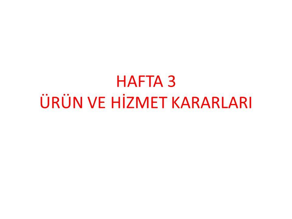 HAFTA 3 ÜRÜN VE HİZMET KARARLARI