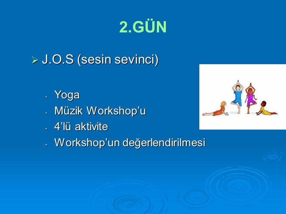 2.GÜN  J.O.S (sesin sevinci) - Yoga - Müzik Workshop'u - 4'lü aktivite - Workshop'un değerlendirilmesi