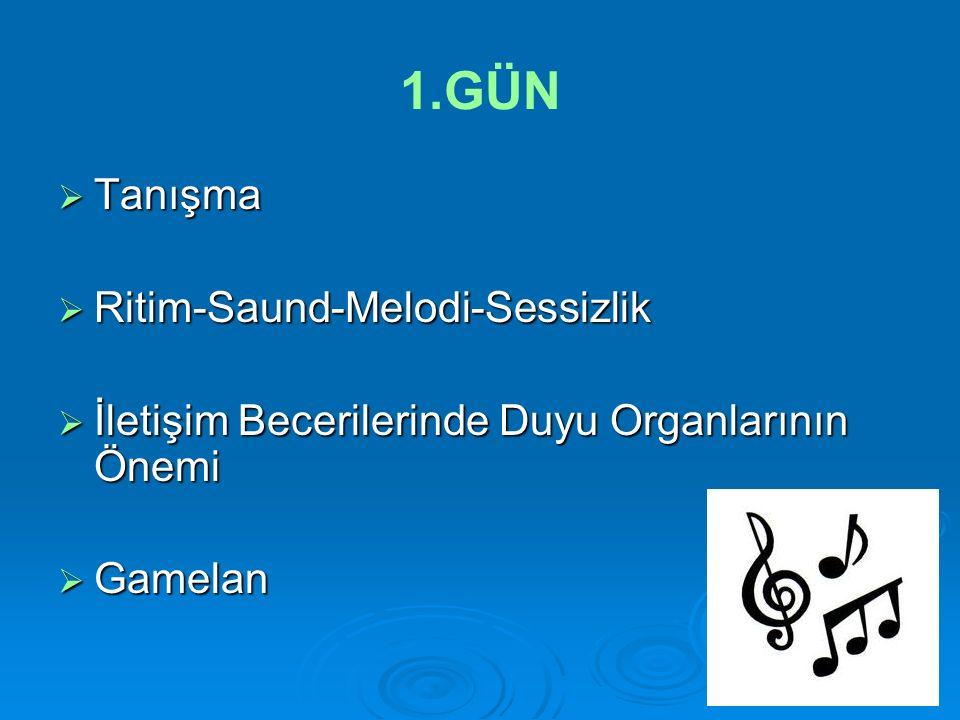 1.GÜN  Tanışma  Ritim-Saund-Melodi-Sessizlik  İletişim Becerilerinde Duyu Organlarının Önemi  Gamelan