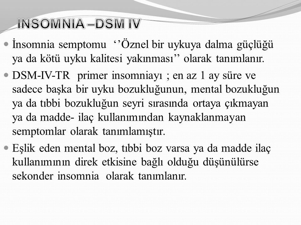 İnsomnia semptomu ''Öznel bir uykuya dalma güçlüğü ya da kötü uyku kalitesi yakınması'' olarak tanımlanır. DSM-IV-TR primer insomniayı ; en az 1 ay sü