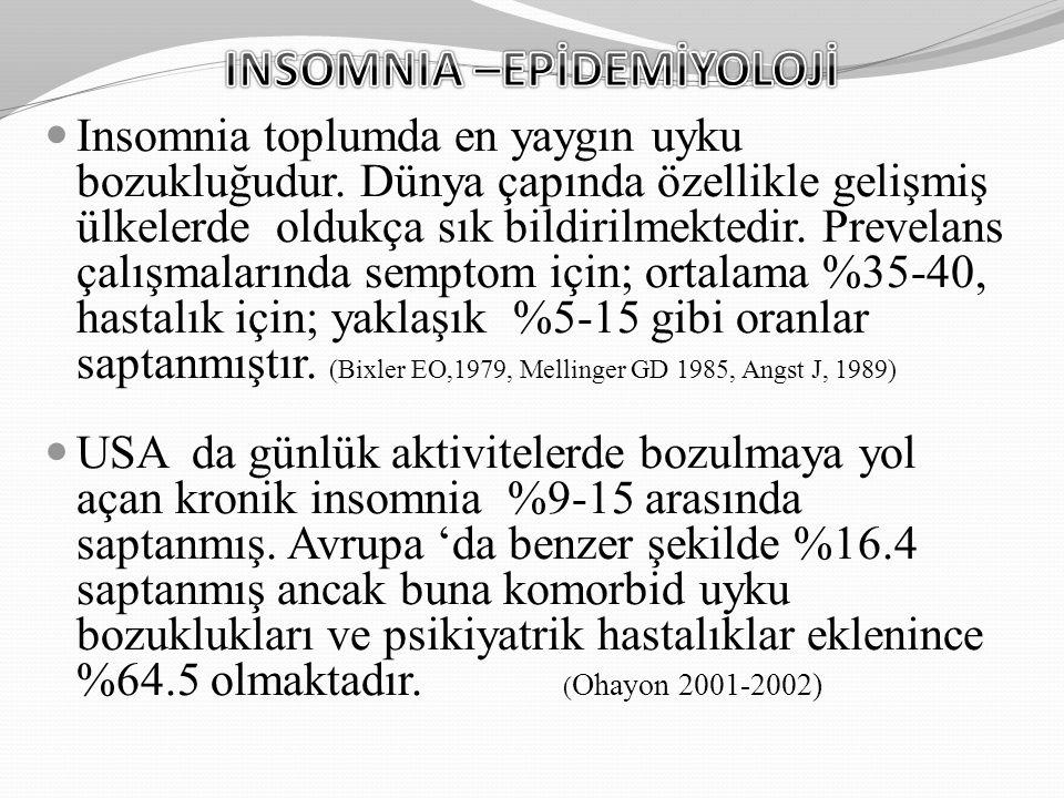 Insomnia toplumda en yaygın uyku bozukluğudur. Dünya çapında özellikle gelişmiş ülkelerde oldukça sık bildirilmektedir. Prevelans çalışmalarında sempt