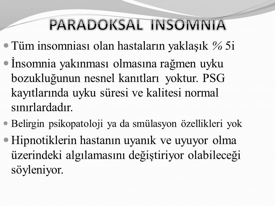 Tüm insomniası olan hastaların yaklaşık % 5i İnsomnia yakınması olmasına rağmen uyku bozukluğunun nesnel kanıtları yoktur. PSG kayıtlarında uyku süres