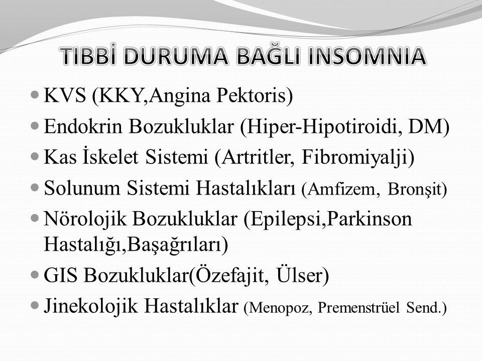 KVS (KKY,Angina Pektoris) Endokrin Bozukluklar (Hiper-Hipotiroidi, DM) Kas İskelet Sistemi (Artritler, Fibromiyalji) Solunum Sistemi Hastalıkları (Amf