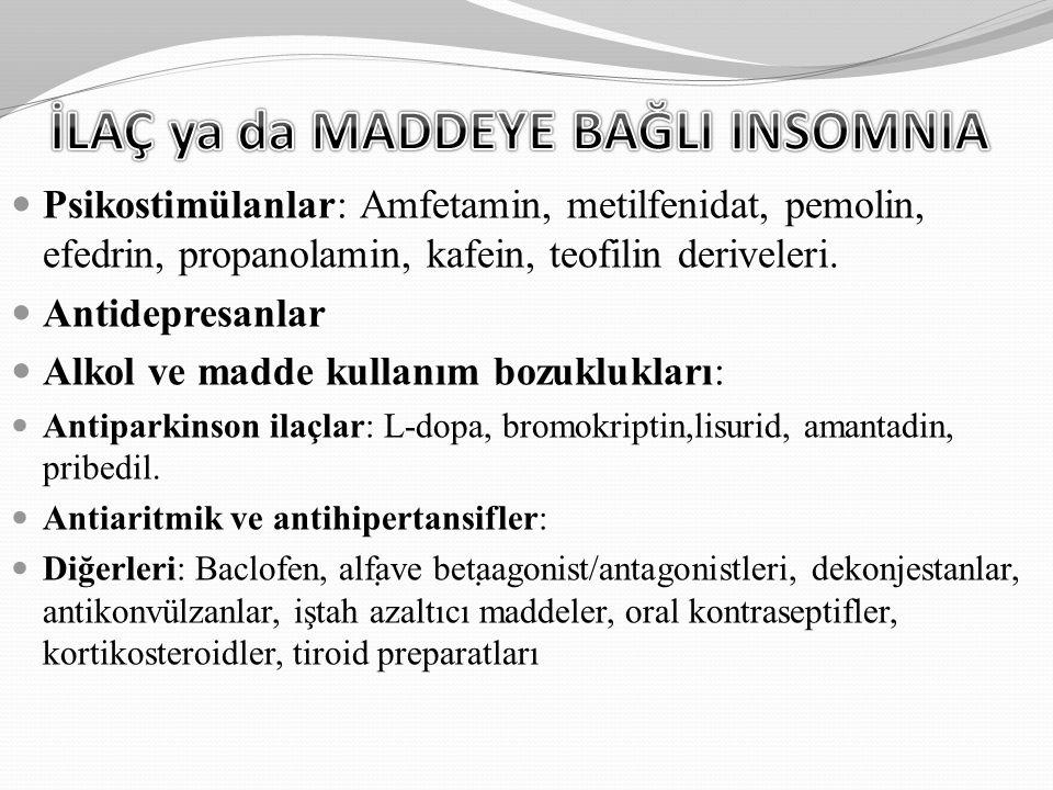 Psikostimülanlar: Amfetamin, metilfenidat, pemolin, efedrin, propanolamin, kafein, teofilin deriveleri. Antidepresanlar Alkol ve madde kullanım bozukl