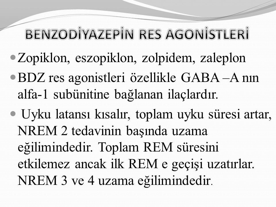 Zopiklon, eszopiklon, zolpidem, zaleplon BDZ res agonistleri özellikle GABA –A nın alfa-1 subünitine bağlanan ilaçlardır. Uyku latansı kısalır, toplam