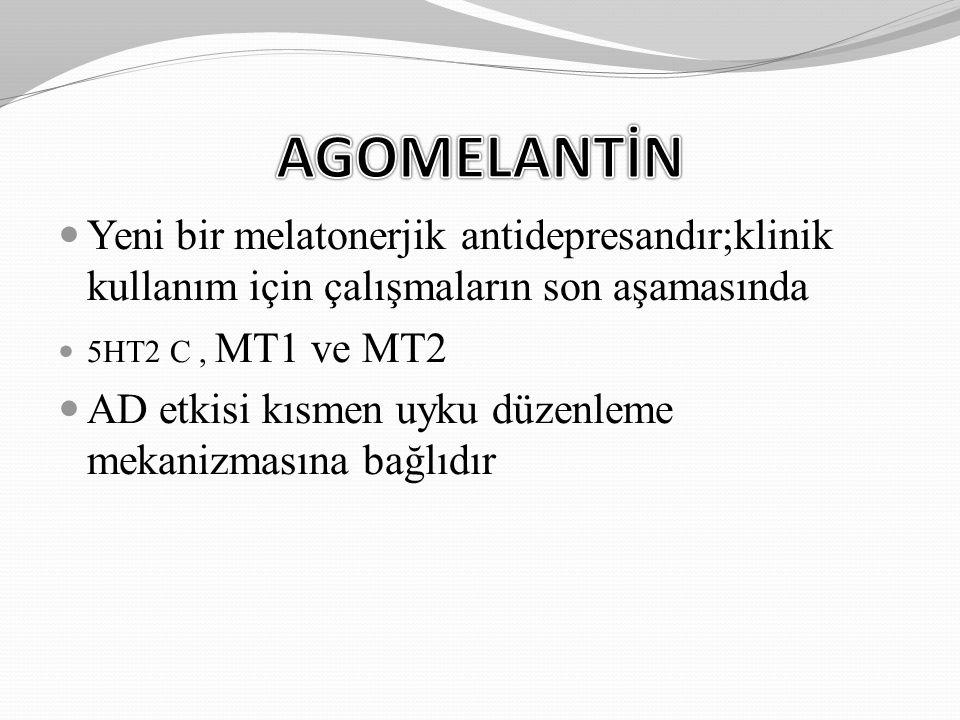 Yeni bir melatonerjik antidepresandır;klinik kullanım için çalışmaların son aşamasında 5HT2 C, MT1 ve MT2 AD etkisi kısmen uyku düzenleme mekanizmasın