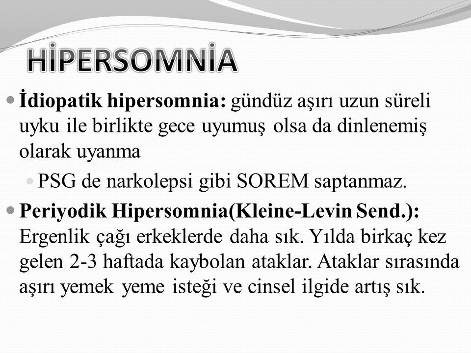 İdiopatik hipersomnia: gündüz aşırı uzun süreli uyku ile birlikte gece uyumuş olsa da dinlenemiş olarak uyanma PSG de narkolepsi gibi SOREM saptanmaz.