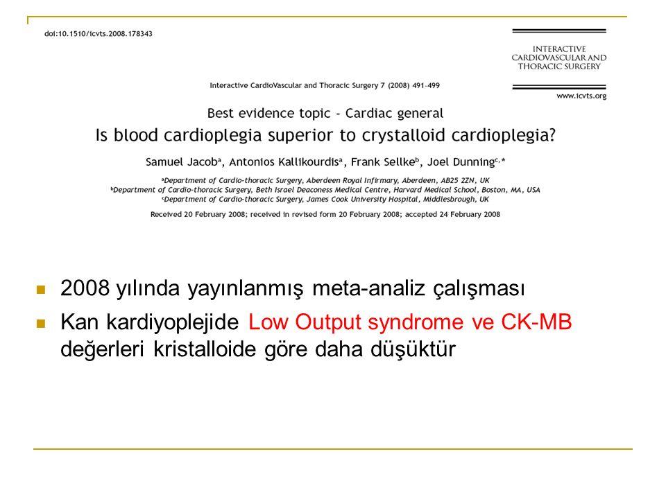 2008 yılında yayınlanmış meta-analiz çalışması Kan kardiyoplejide Low Output syndrome ve CK-MB değerleri kristalloide göre daha düşüktür