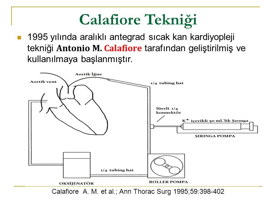 Calafiore Tekniği 1995 yılında aralıklı antegrad sıcak kan kardiyopleji tekniği Antonio M. Calafiore tarafından geliştirilmiş ve kullanılmaya başlanmı