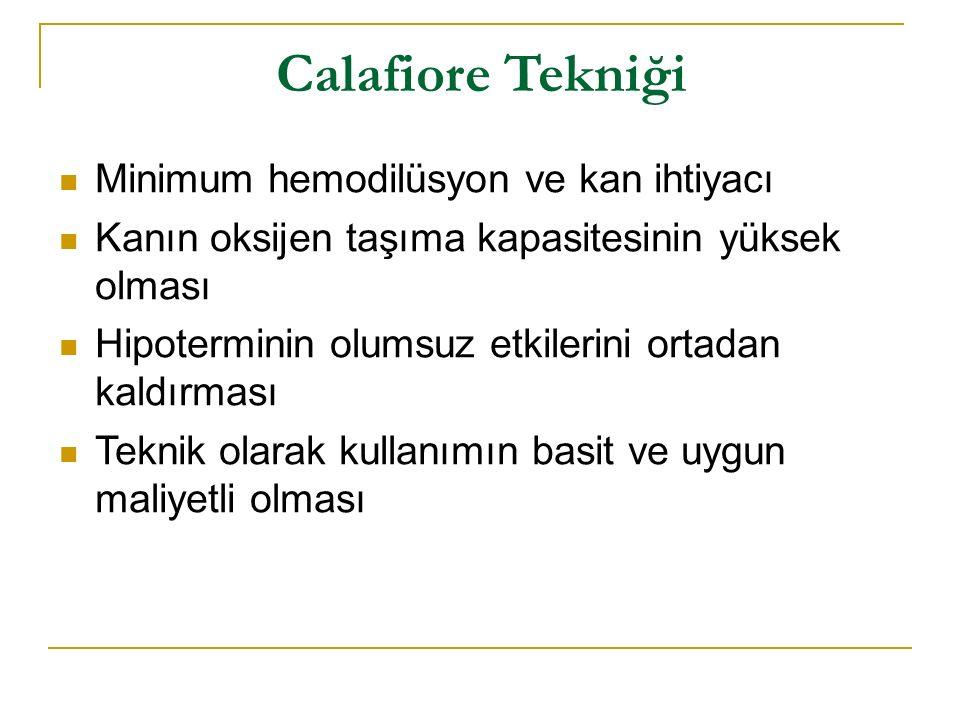 Calafiore Tekniği Minimum hemodilüsyon ve kan ihtiyacı Kanın oksijen taşıma kapasitesinin yüksek olması Hipoterminin olumsuz etkilerini ortadan kaldır