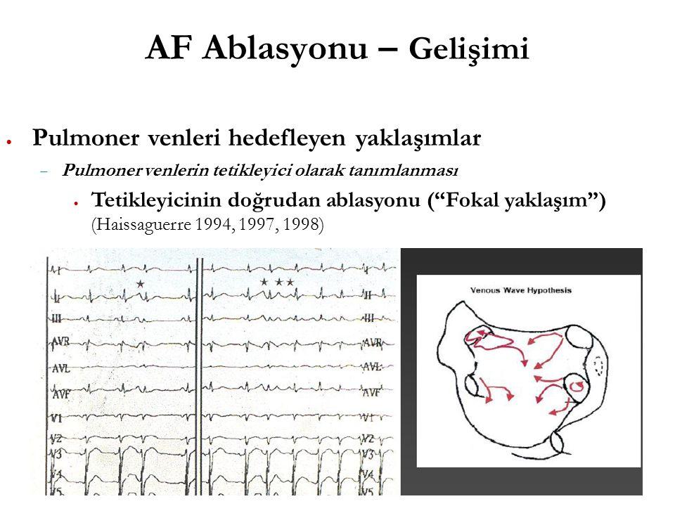 AF Ablasyonu – Gelişimi  Pulmoner venleri hedefleyen yaklaşımlar  Pulmoner venlerin tetikleyici olarak tanımlanması  Tetikleyicinin doğrudan ablasyonu ( Fokal yaklaşım ) (Haissaguerre 1994, 1997, 1998)
