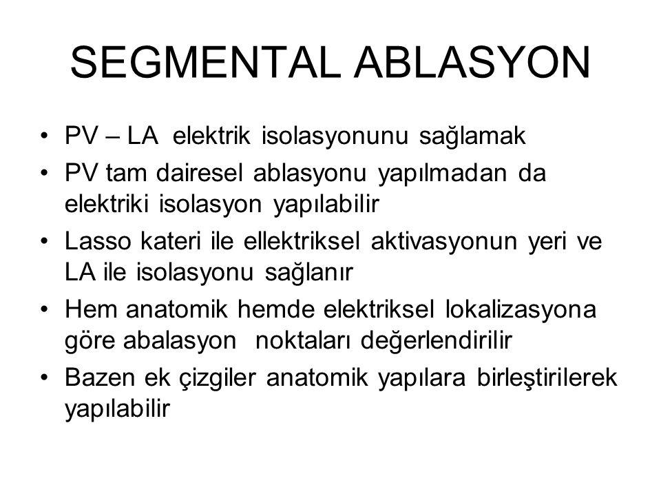 SEGMENTAL ABLASYON PV – LA elektrik isolasyonunu sağlamak PV tam dairesel ablasyonu yapılmadan da elektriki isolasyon yapılabilir Lasso kateri ile ellektriksel aktivasyonun yeri ve LA ile isolasyonu sağlanır Hem anatomik hemde elektriksel lokalizasyona göre abalasyon noktaları değerlendirilir Bazen ek çizgiler anatomik yapılara birleştirilerek yapılabilir