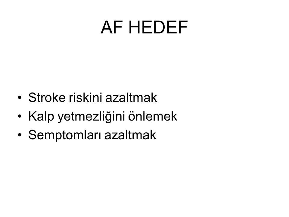 AF HEDEF Stroke riskini azaltmak Kalp yetmezliğini önlemek Semptomları azaltmak