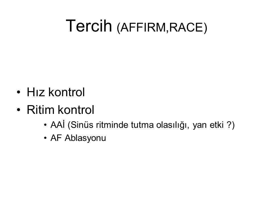 Tercih (AFFIRM,RACE) Hız kontrol Ritim kontrol AAİ (Sinüs ritminde tutma olasılığı, yan etki ) AF Ablasyonu