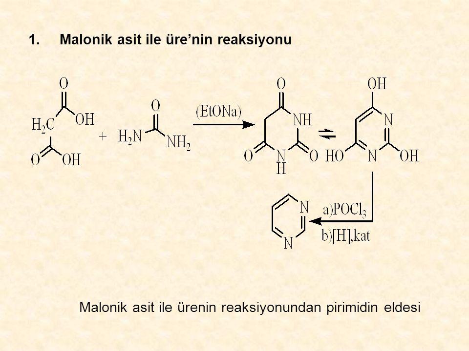 1.Malonik asit ile üre'nin reaksiyonu Malonik asit ile ürenin reaksiyonundan pirimidin eldesi