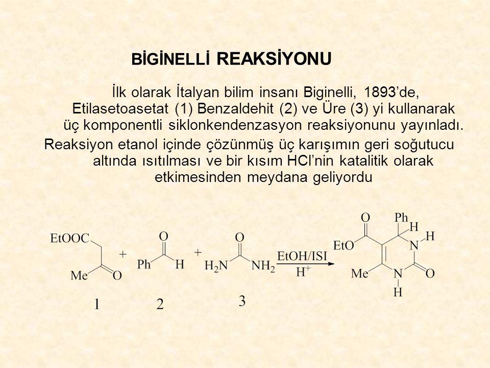 İlk olarak İtalyan bilim insanı Biginelli, 1893'de, Etilasetoasetat (1) Benzaldehit (2) ve Üre (3) yi kullanarak üç komponentli siklonkendenzasyon reaksiyonunu yayınladı.