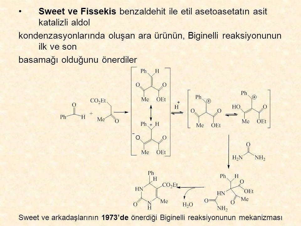Sweet ve Fissekis benzaldehit ile etil asetoasetatın asit katalizli aldol kondenzasyonlarında oluşan ara ürünün, Biginelli reaksiyonunun ilk ve son basamağı olduğunu önerdiler Sweet ve arkadaşlarının 1973'de önerdiği Biginelli reaksiyonunun mekanizması