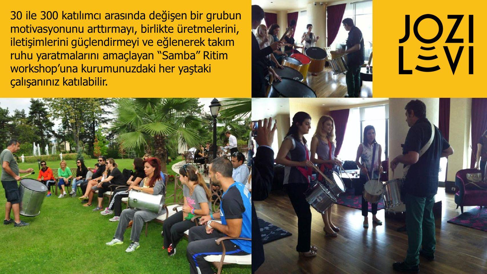 30 ile 300 katılımcı arasında değişen bir grubun motivasyonunu arttırmayı, birlikte üretmelerini, iletişimlerini güçlendirmeyi ve eğlenerek takım ruhu yaratmalarını amaçlayan Samba Ritim workshop'una kurumunuzdaki her yaştaki çalışanınız katılabilir.