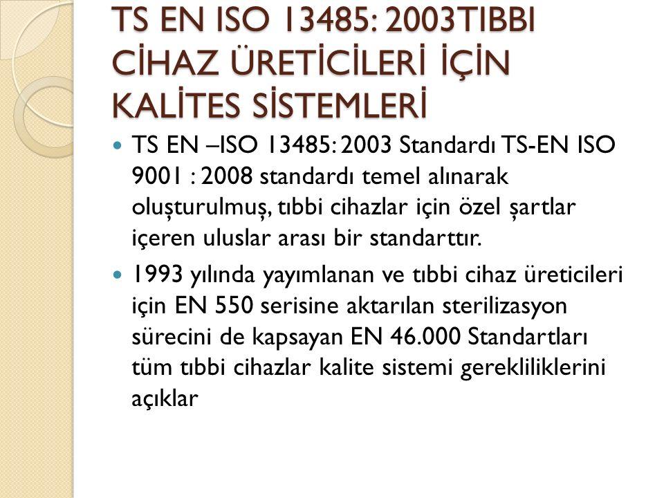 TS EN ISO 13485: 2003TIBBI C İ HAZ ÜRET İ C İ LER İ İ Ç İ N KAL İ TES S İ STEMLER İ TS EN –ISO 13485: 2003 Standardı TS-EN ISO 9001 : 2008 standardı temel alınarak oluşturulmuş, tıbbi cihazlar için özel şartlar içeren uluslar arası bir standarttır.