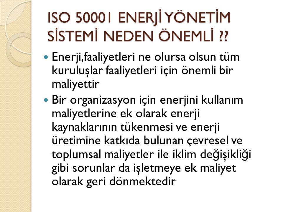 ISO 50001 ENERJ İ YÖNET İ M S İ STEM İ NEDEN ÖNEML İ ?.