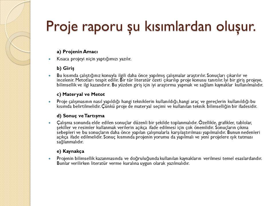 Proje raporu şu kısımlardan oluşur. a) Projenin Amacı Kısaca projeyi niçin yaptı ğ ımızı yazılır. b) Giriş Bu kısımda çalıştı ğ ınız konuyla ilgili da