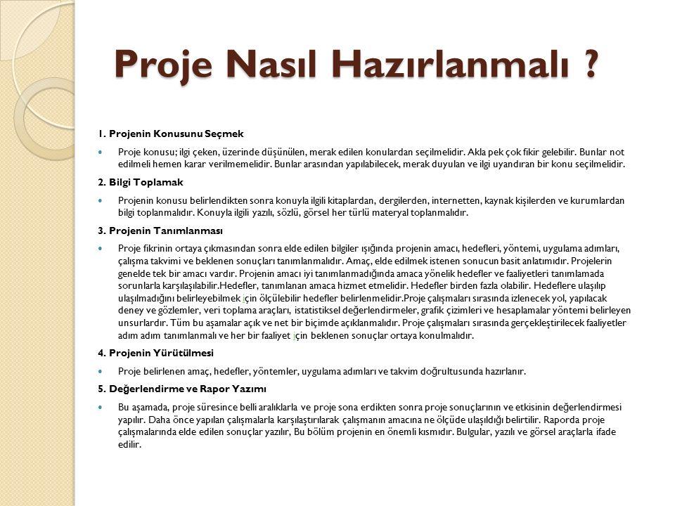 Bilimsel Proje Raporu Bölümleri 6.