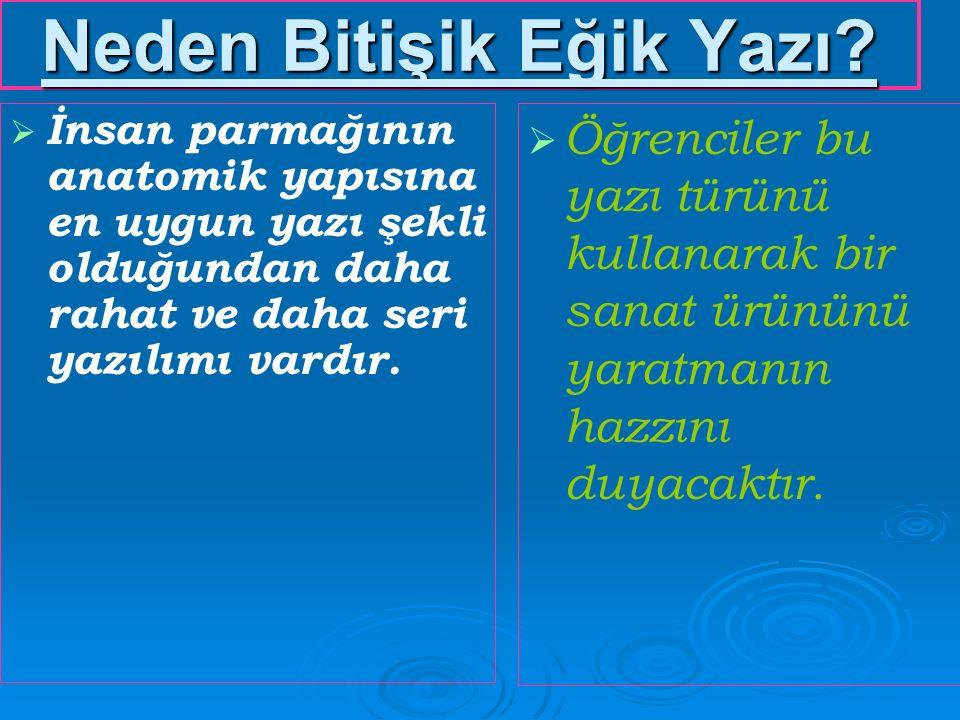   Yurt genelinde tüm İlköğretim okullarımızdan başlamak üzere,Orta ve Yüksek Öğretim Kurumlarımızda   İstiklal Marşı, Atatürk'ün Gençliğe Hitabesi ile ünite köşeleri, okul duvar gazeteleri ve panolarda asılan yazıların, levhaların, afişlerin atasözü ve özdeyişlerin bitişik eğik yazı ile yazılı olması konusunda girişimde bulunulmalıdır...