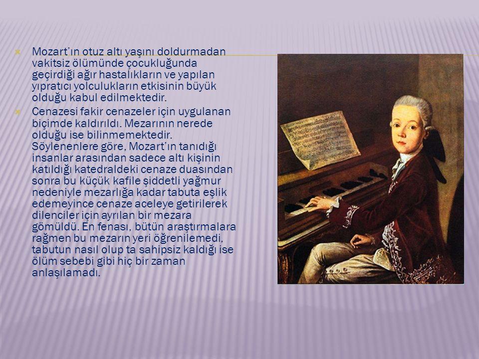 · Bastien ve Bastienne (1768), · La Finta Semplice (1768), · Mitridate (1770), · Ascanio in Alba (1771), · İl Signo di Scipione (1772), · Lucia Silla (1772), · La Finta Giardiniera (1775), · İl re Pastore (1775), · ·Saraydan Kız Kaçırma (1782), · La Sposo Delluso (1783), · Figaronun Düğünü (1786), · Don Juan (1787), · Cosi Fan Tutte (1790), · Sihirli Flüt (1791), · Titus (1791).