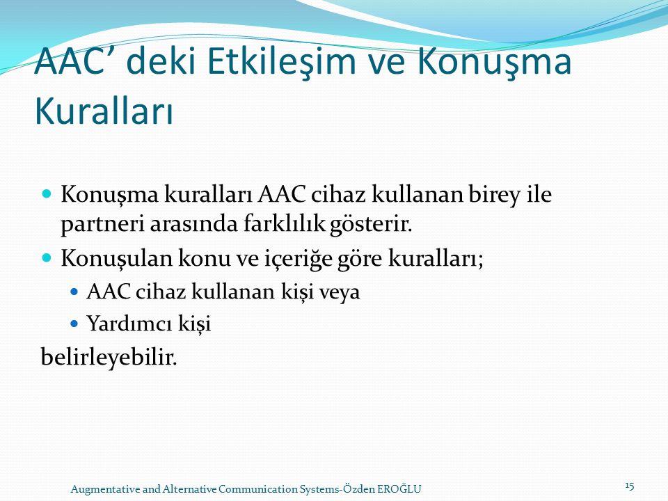 AAC' deki Etkileşim ve Konuşma Kuralları Konuşma kuralları AAC cihaz kullanan birey ile partneri arasında farklılık gösterir.