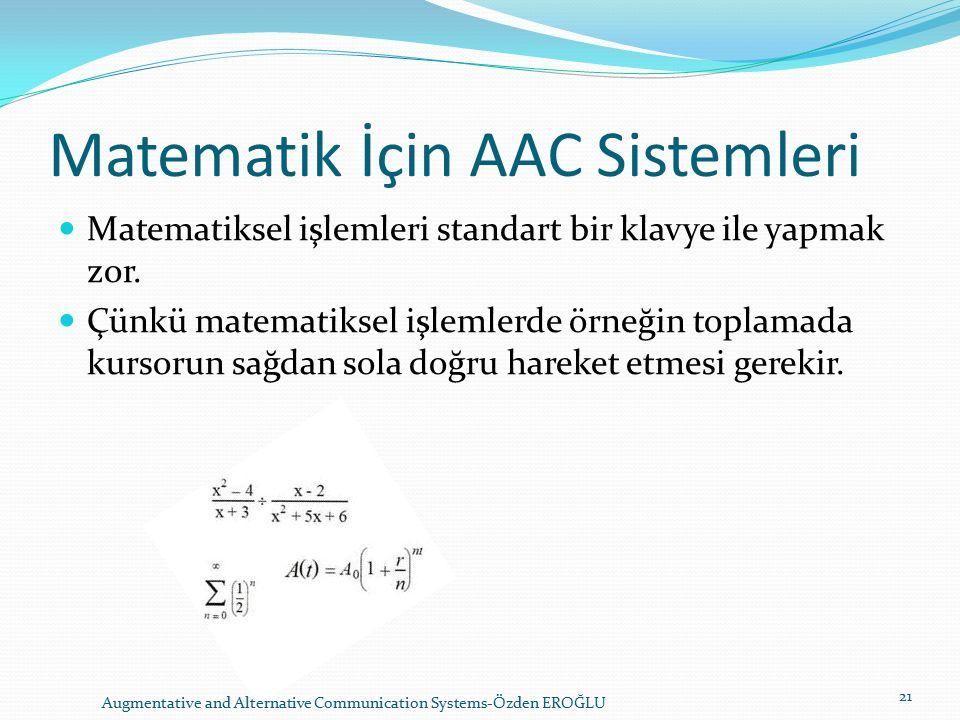 Matematik İçin AAC Sistemleri Matematiksel işlemleri standart bir klavye ile yapmak zor.