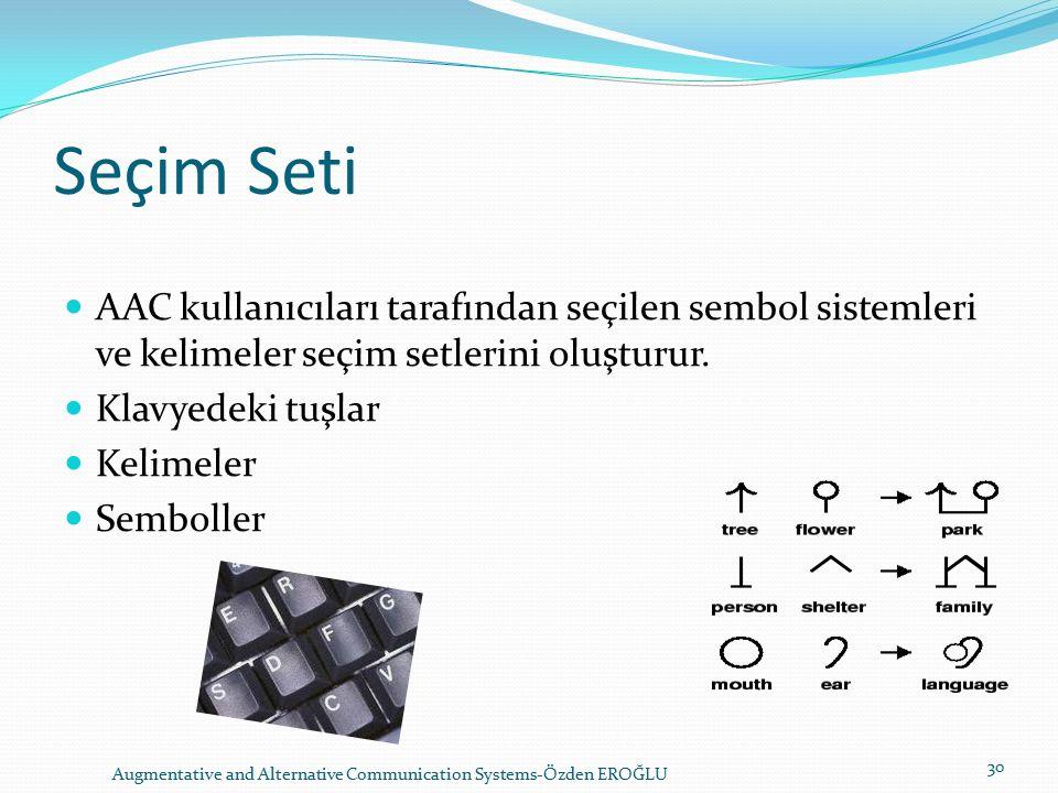 Seçim Seti AAC kullanıcıları tarafından seçilen sembol sistemleri ve kelimeler seçim setlerini oluşturur.