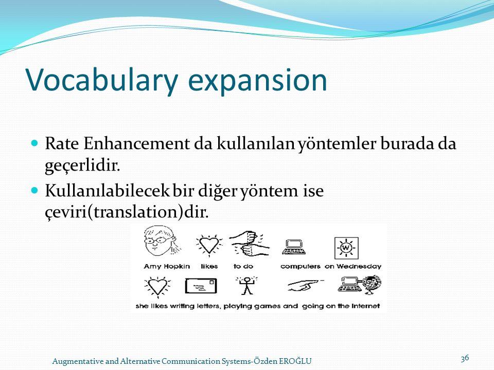 Vocabulary expansion Rate Enhancement da kullanılan yöntemler burada da geçerlidir.