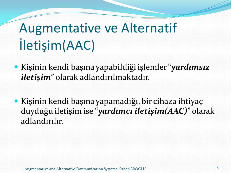 Augmentative ve Alternatif İletişim(AAC) Kişinin kendi başına yapabildiği işlemler yardımsız iletişim olarak adlandırılmaktadır.