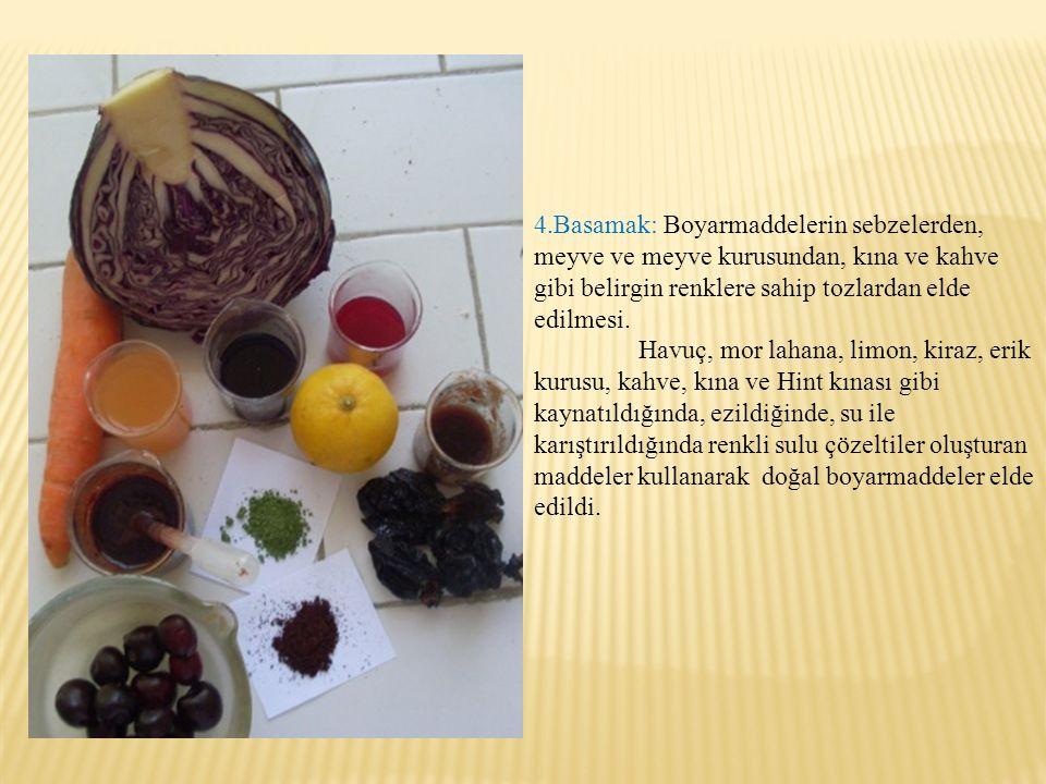 4.Basamak: Boyarmaddelerin sebzelerden, meyve ve meyve kurusundan, kına ve kahve gibi belirgin renklere sahip tozlardan elde edilmesi. Havuç, mor laha