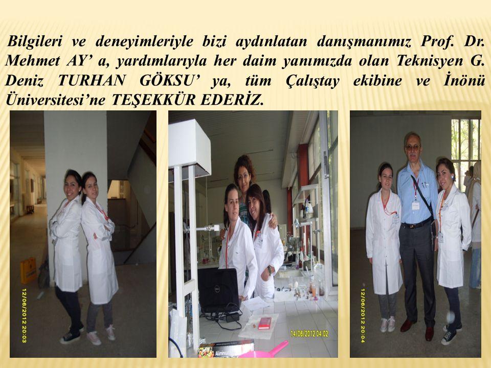 Bilgileri ve deneyimleriyle bizi aydınlatan danışmanımız Prof. Dr. Mehmet AY' a, yardımlarıyla her daim yanımızda olan Teknisyen G. Deniz TURHAN GÖKSU
