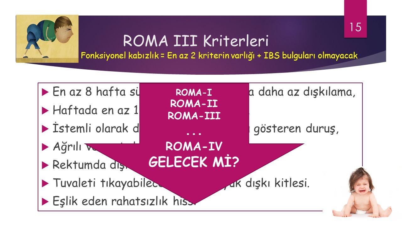 ROMA III Kriterleri  En az 8 hafta süreyle haftada 2 veya daha az dışkılama,  Haftada en az 1 kez dışkı tutamama,  İstemli olarak dışkı tutma veya bunu gösteren duruş,  Ağrılı ve sert dışkı,  Rektumda dışkı kitlesinin saptanması,  Tuvaleti tıkayabilecek kadar büyük dışkı kitlesi.