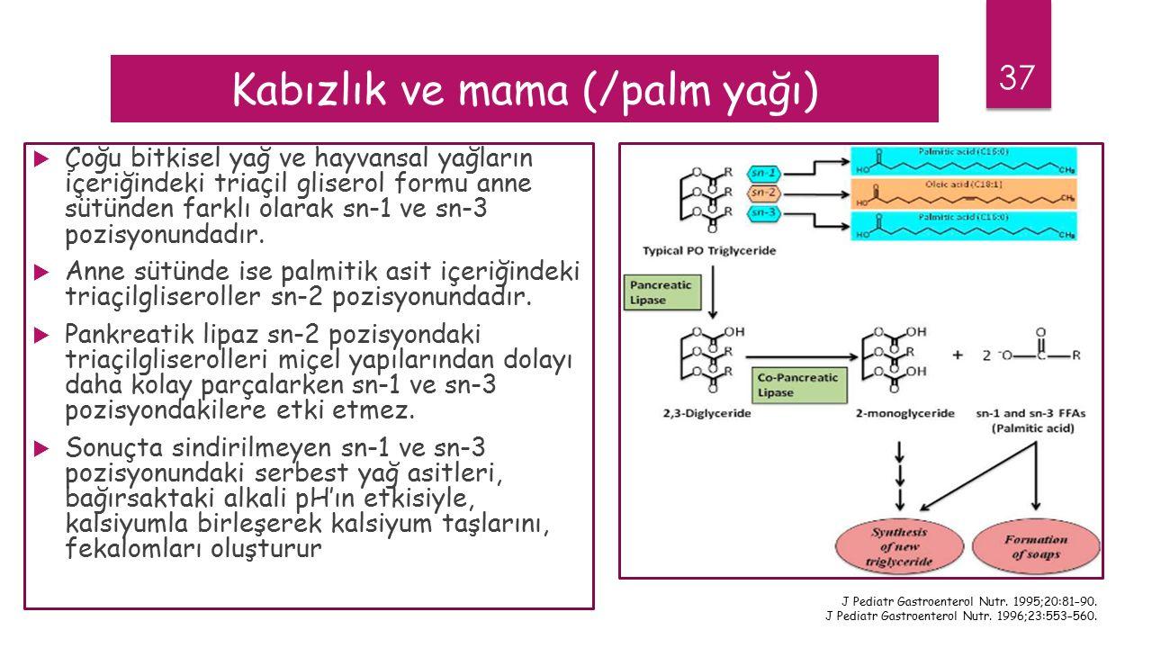 37 Kabızlık ve mama (/palm yağı)  Çoğu bitkisel yağ ve hayvansal yağların içeriğindeki triaçil gliserol formu anne sütünden farklı olarak sn-1 ve sn-3 pozisyonundadır.