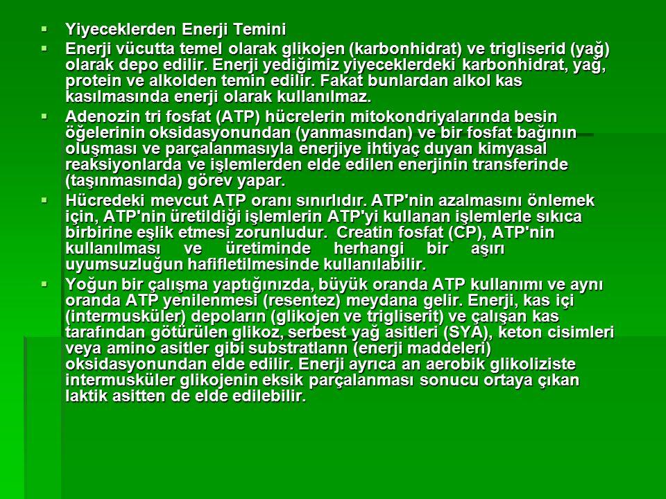  Yiyeceklerden Enerji Temini  Enerji vücutta temel olarak glikojen (karbonhidrat) ve trigliserid (yağ) olarak depo edilir. Enerji yediğimiz yiyecekl