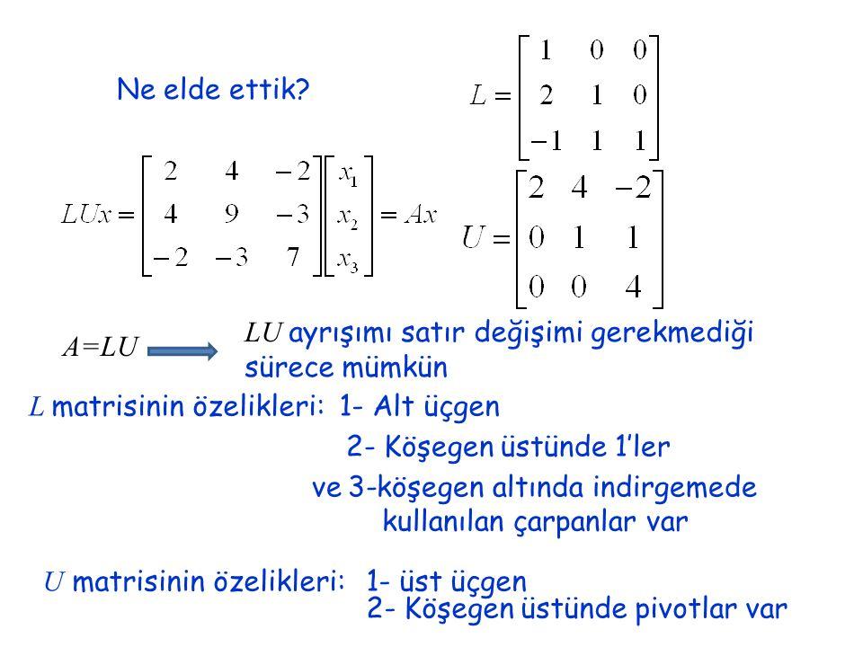 Ne elde ettik? A=LU LU ayrışımı satır değişimi gerekmediği sürece mümkün L matrisinin özelikleri:1- Alt üçgen 2- Köşegen üstünde 1'ler ve 3-köşegen al