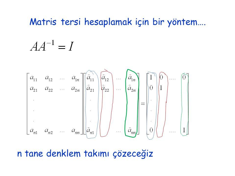 Matris tersi hesaplamak için bir yöntem…. n tane denklem takımı çözeceğiz