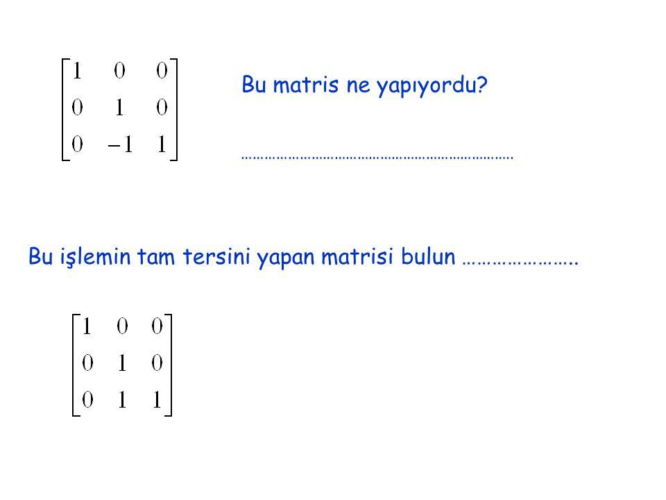 Bu yeni bulduğunuz iki matrisi çarpalım Şimdi de bu bulduğumuz L ileçarpalım