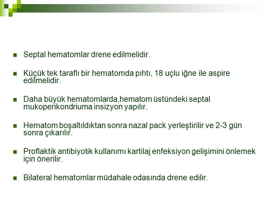 Septal hematomlar drene edilmelidir.