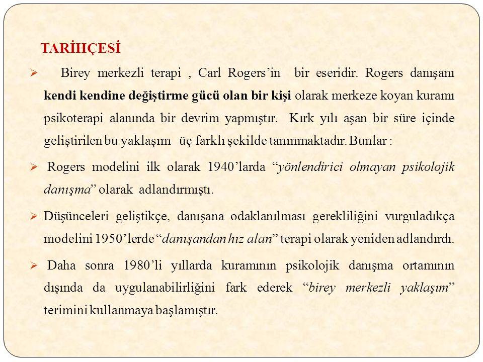 TARİHÇESİ  Birey merkezli terapi, Carl Rogers'in bir eseridir.